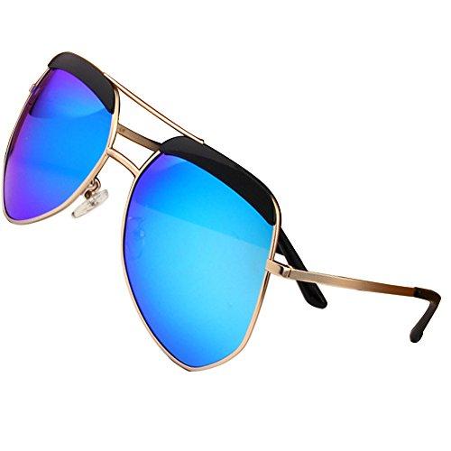 Sumery Unisex Metal Fashion Big Frame Polarized Sunglasses Women Men UV400 (Gold,
