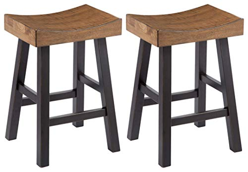 Ashley Furniture Signature Design - Glosco Vintage Casual Barstool - Counter Height - Set of 2 - Two-tone Brown Top With Black Base ()