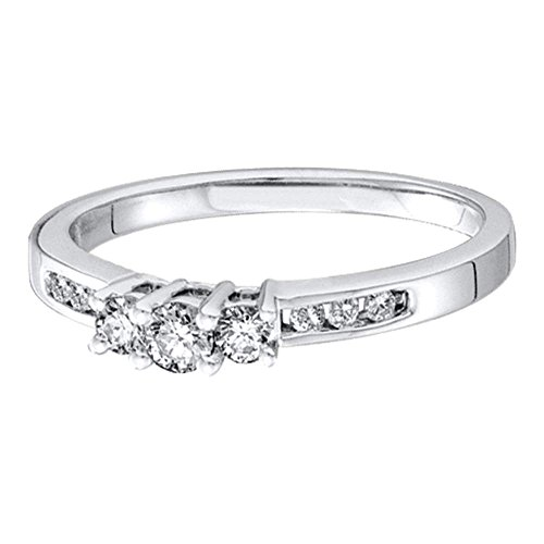 Sonia Jewels Size 6.5-14K White Gold Diamond Classic Traditional Engagement Ring - 3 Three Stone Center Setting Shape w/Channel Set Round Diamonds - (1/4 cttw)