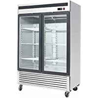 55 Inch Refrigerator Stainless Steel Double Glass Door Showcase Reach-in Commercial Grade Restaurant - 45 Cu. Ft. - Auto Defrost - Digital Control - 6 Adjustable Shelves, MCF-8707