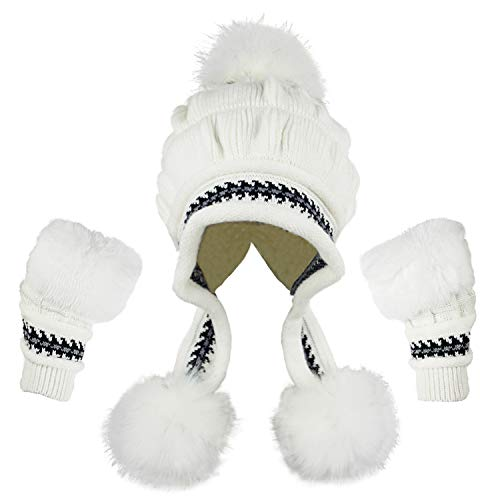 Bellady Women Knit Beanie Winter Ski Hat Cap with Earflap Pom Glove Set,White