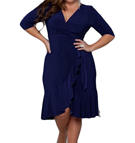 V Cocktail Dress 4 Solid Pattern1 Women Sleeve 3 Flouncing Coolred Oversized Neck 6vg1qWw5