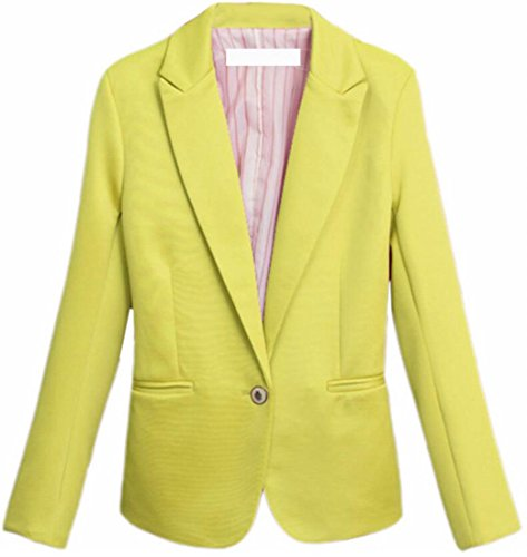 TTYLLMAO Womens Casual Candy Color Suit Coat Jacket Blazer Outwear Yellow