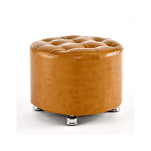 SYFO Leather Handmade Footstool Foot Rest Makeup Dresser Sofa Tea Coffee Table Stool Pouffe Seat Ottoman Bench Chair (Round)-Multi-Color Optional Stool (Color : Yellow)