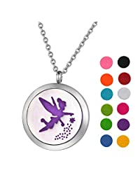 Stainless Steel Aromatherapy Essential Oil Diffuser Necklace with Character Pattern for Women,Silver Tone