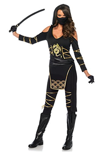 (Leg Avenue Women's Stealth Ninja Costume, Black/Gold,)