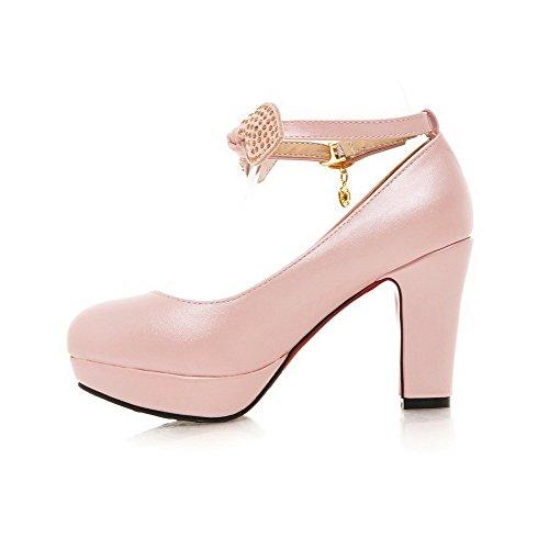 VogueZone009 Damen Schnalle Hoher Absatz PU Leder Eingelegt Rund Zehe Pumps Schuhe Pink