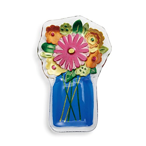 (Flowers In Mason Jar Vase Floral Blue 13 x 9 Vibrant Glass Accent Plate)