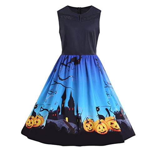 DEATU Ladies Halloween Dresses Big Promotion! Teen Girls Womens Vintage O-Neck Print Chic Sleeveless Halloween Party Swing Dress(Blue,M) -