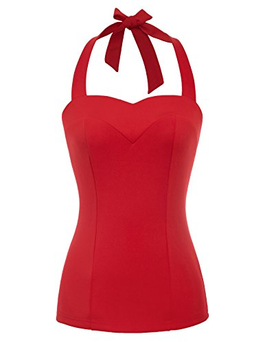 Belle Poque Women's Retro Vintage Halter Tops Shirt Sleeveless Slim Tees Red Size XL