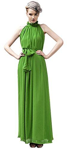 VSVO Women Halter Neck Sleeveless Chiffon Maxi Dresses (One Size, Light Green) (Lime Green Sash)