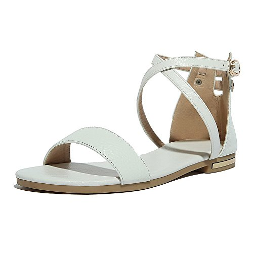 Sandals Buckle Heels White AalarDom Solid Toe X PU Womens Open Low 6x8f0q