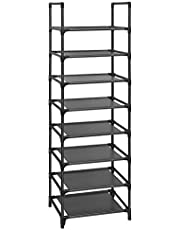 SONGMICS Shoe Rack, 8-Tier Shoe Shelf Organizer, Shoe Tower, 16-20 Pairs, for Closet, Black ULSR24BK