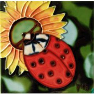 Ladybug Ceramic Tile (Ladybug Decorative Ceramic Wall Art Tile 4x4)