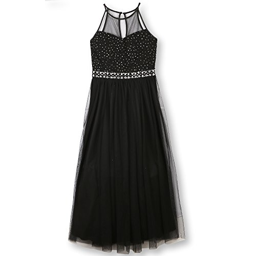 Speechless Girls' Big 7-16 Full Length Formal Dance Party Maxi Dress, Black, 16 ()