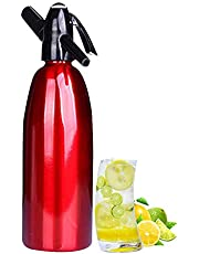 Soda Water Siphon-Soda Water Manufacturer-Carbon Dioxide Dispenser, Suitable for Home Bar DIY Making Cocktails and Carbonated Water, Without CO2 Gas Bomb,Red