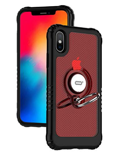 ICONFLANG Compatible Phone Case for iPhone Xs 5.8 with Ring Kickstand 360 Degree Rotating Drop Airbag Protection Shock Absorption Case [Compatible Magnetic Car Mount Case] (Red)
