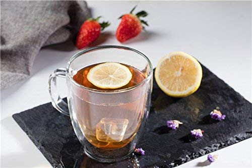 Large Premium Heat Resisting Glass Cup or Mug (Single Cup - 1 Cup) - 500 ML or 16.9 OZ (Ounces) - Double Walled Insulated Glass - Dishwasher & Microwave Safe - Clear, Unique & Insulated with Handle by B&Z Glass (Image #2)