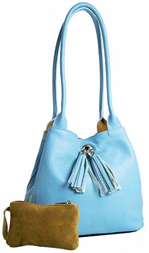 BHBS Bolso para Dama Mediano y Reversible con Correa Curvada y Borla Decorativa con Flecos en Auténtica Piel italiana 26x23x12.5 cm (LxAxP) azul celeste