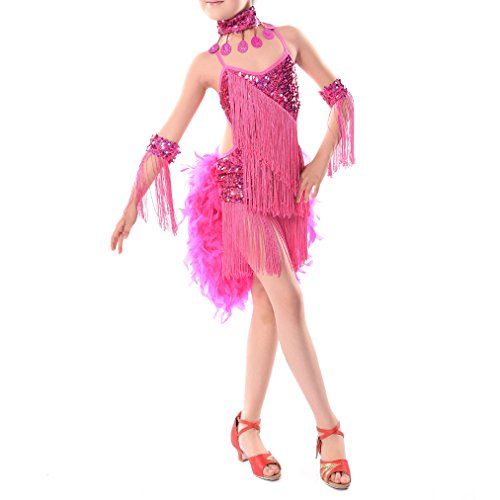 Latin Dance Costumes With Feathers (TOOGOO(R)New Children Kids Sequin Feather Fringe Stage Performance Competition Ballroom Dance Costume Latin Dance Dress For Girls Hot pink,XL)