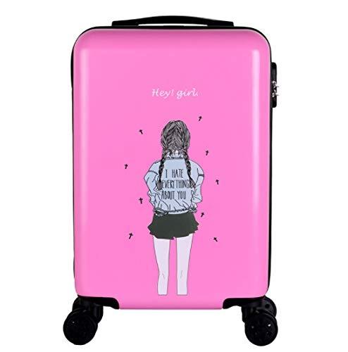 トロリーユニバーサルホイール漫画の子供のスーツケースの女性の韓国語バージョン24インチ20インチ26インチ L ピンク B07PLJW9V8