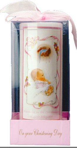 Bautizo–Vela Vela de Bautizo para una niña regalo con lazo y Lourdes tarjeta de oración) Catholic Gift Shop