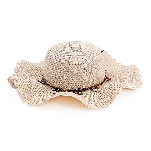 (Supremehome1 Seaside Beach Sun Hat Wavy Side Straw Hat Beaded String Pendant Hat Lady Sun Hat Visor Outdoor Travel (Color : Pink, Size : 56-58CM))
