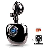 MERRiLL Dash Cam Dual Cameras 1080P 170° Wide Angle Night Vision 15 megapixel with Night Vision, Parking Monitor, 32GB card
