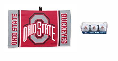 Ohio State Alumni Bar - WinCraft NCAA Ohio State Buckeyes 3 pack Golf Balls & 14 x 24 inch Waffle Towel Set