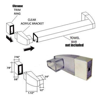 Clear Acrylic Towel Bar Brackets with Bright Chrome Sleeve