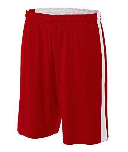 Reversible Boys Shorts - A4 Big Boys' Ultra Tight Knit Reversible Interlock Short, L, Scarlet Red/ White