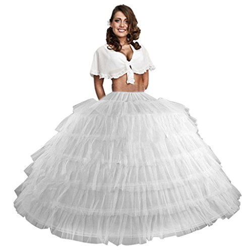 Edith qi Women's Petticoats Mermaid Crinoline Half Slips Underskirt for Bridal Dress (7 Hoop-White)
