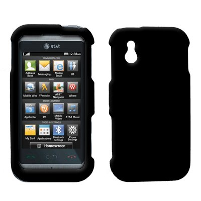 Premium Black Rubberized Snap-On Cover Hard Case Cell Phone Protector for LG Arena GT950 [Accessory Export Brand (Lg Arena Mobile Phone)