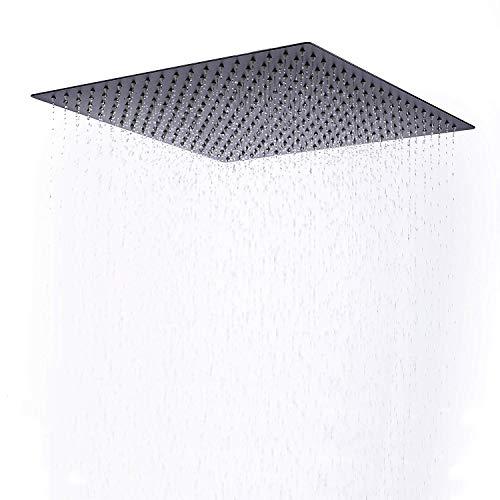 (Beelee 16 Inch Rainfall Square Bathroom Stainless Steel Shower Head Ceiling Mount,Black)