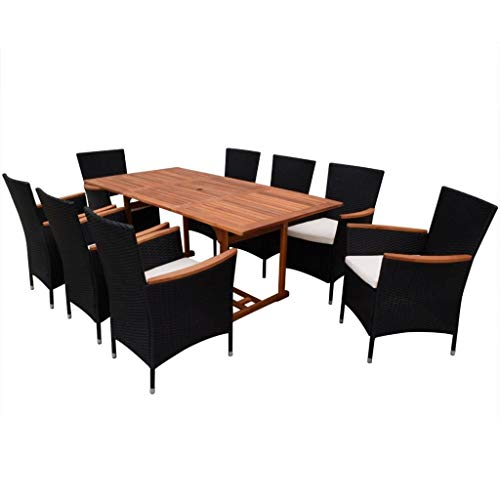 Festnight 9 Piece Outdoor Patio Rattan Wicker Furniture Dining Table Chair Set Black (Garden Chairs Piece 8 And Table)