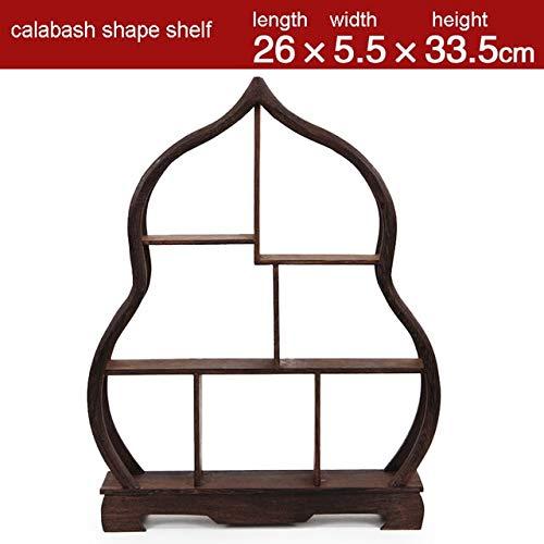 ZAMTAC Antique Wooden Decoration Craft Treasure Cabinet Display Shelves of Chinese Style Furnishing Articles Teapot Shelf - (Color: Calabash Shape Shelf)