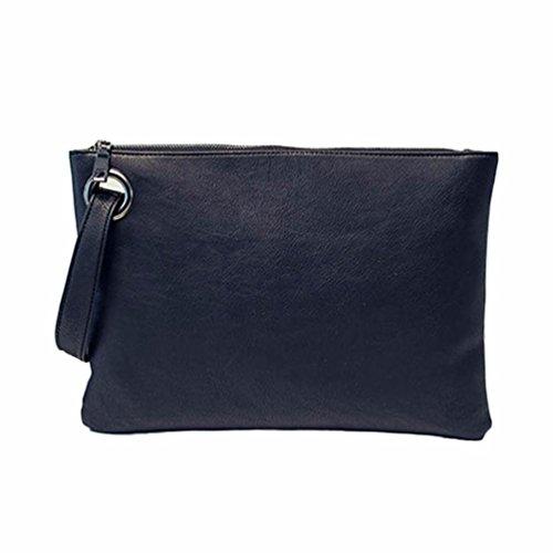 Hunputa Women Leather Handbag Clutch Evening Bag Simple Retro Envelope Package (Black)