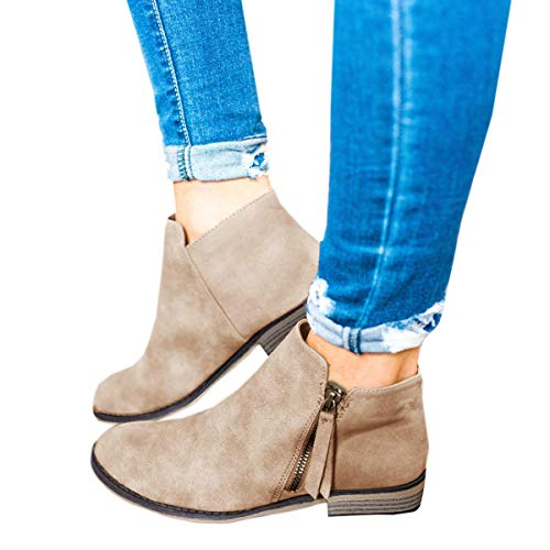 Ofenbuy Womens Ankle Boots Pointed Toe Faux Leather Stacked Low Heel Side Zipper Booties Khaki