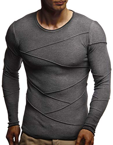 Leif Uni Pull Anthracite Manches Nelson Longues Homme CHCFqw