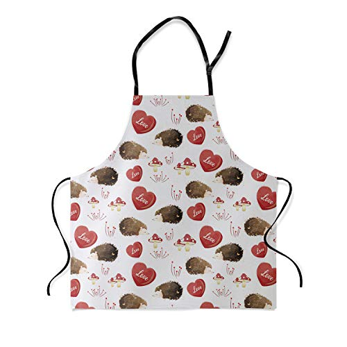 (Image Tablecloth Kitchen Bib Apron - Watercolor Cute Hedgehog and Heart Animal Pattern Unisex Cotton Apron with Adjustable Neck for Cooking Baking Gardening - 26