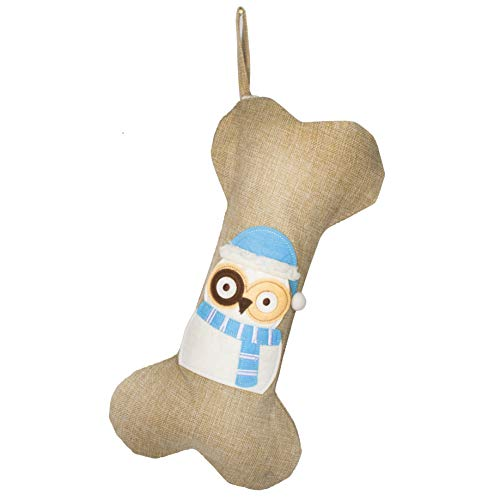 Beyond Your Thoughts 2018 Burlap Dog Christmas Stocking (Extra Large) Embroidered Linen Christmas Ornament Family Decorations (16.5 inch) 3# Owl