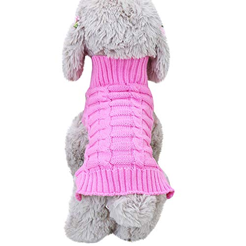 Hpapadks Pet Dog Cashmere Twisted Sweater, Pet Dog Cat Winter Warm Turtleneck Sweater Coat Costume Apparel Small Dog -