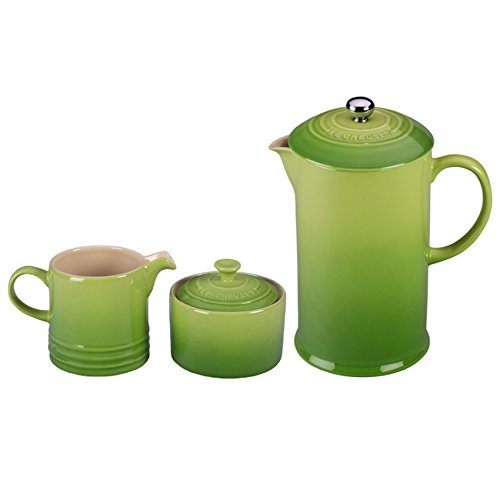 Le Creuset Palm Stoneware French Press Coffee Maker With Matching Cream and Sugar Set