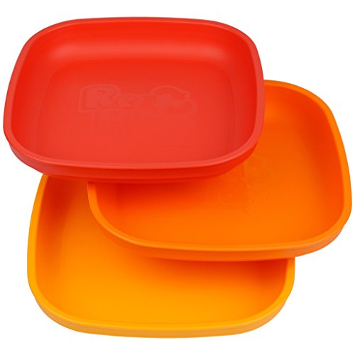 Re-Play Made In USA 3pk Plates with Deep Sides for Easy Baby, Toddler, Child Feeding - Red, Orange & Sunny Yellow (Fall)
