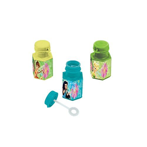 Disney Tinkerbell And The Fairies Mini Bubble Bottle Birthday Party Toy Favour (12 Pack), Multi Color, .6 oz.