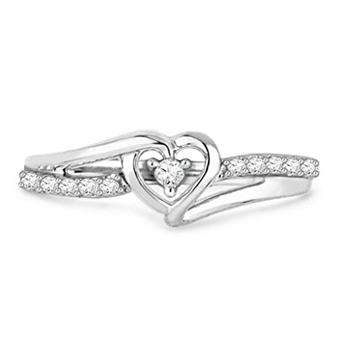 Daesar Silver Plated Engagement Rings Cubic Zirconia Pave Heart Rings Womens Promise Ring Size:7 ()