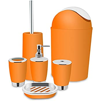 Orange Bathroom Accessories Set Bath Toilet Brush Accessories Set With  Trash Can,Toothbrush Holder And