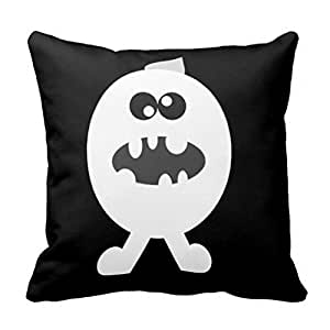 GraebnerSaleStore 18X 18inch Pastoral Style Cotton Linen Decorative Throw Pillow Cover Cushion Case Black & White Halloween H:633
