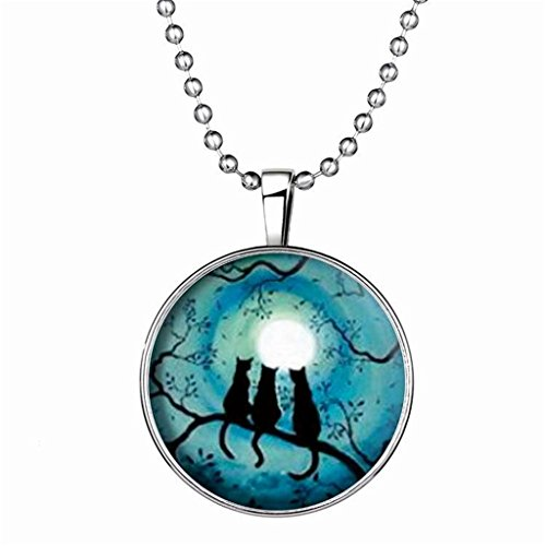 [Aomily Jewelry,18K Gold Plated Halloween Light Pendant 3 Cats to the Moon Stainless Steel Chain] (Hammer And Nail Halloween Costumes)