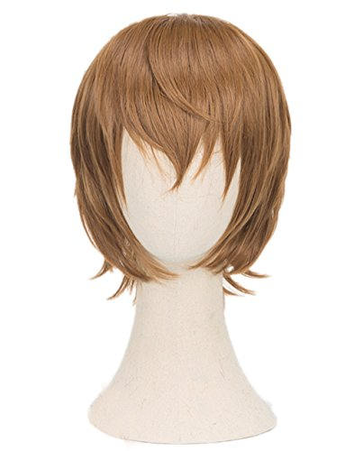 Goro Akechi Crow Cosplay Wig Xcoser Persona 5 Brown Short Hair for Men]()